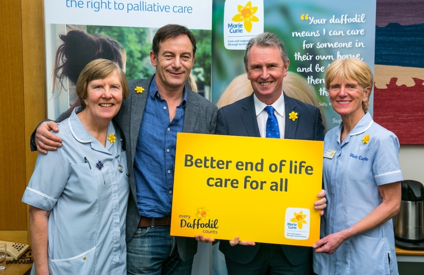 Nigel with Jason Isaacs supporting Marie Curie